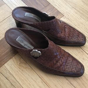 Brighton brown woven leather heeled mule clog, 8